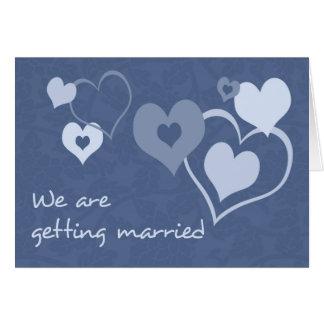 Blue Hearts Engagement Announcement Card