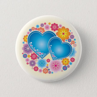 Blue Hearts Floral Pinback Button