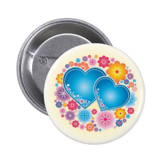Blue Hearts Floral Pinback Button