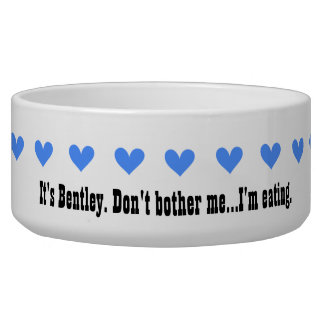 Blue Hearts Funny Dog Bowl V08