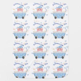 Blue Hearts Granma's Little Man Baby Blanket