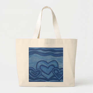 Blue Hearts Large Tote Bag