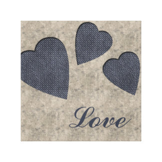 Blue Hearts Love Canvas Gallery Wrapped Canvas