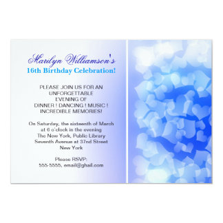 blue hearts modern sweet 16 birthday invitations