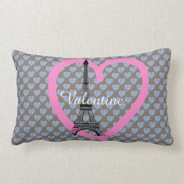 Beach Themed Blue hearts on chocolate brown eiffel tower lumbar pillow