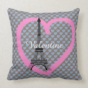 Beach Themed Blue hearts on chocolate brown eiffel tower throw pillow