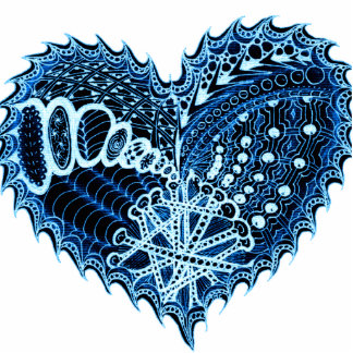 Blue Hearts on Fire Doodle Cutout