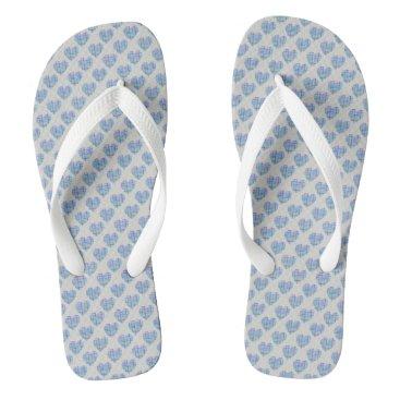 Beach Themed Blue hearts on pebble grey flip flops