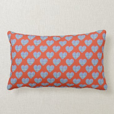Beach Themed Blue hearts on red lumbar pillow