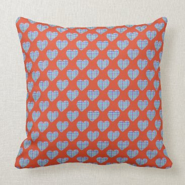 Beach Themed Blue hearts on red throw pillow
