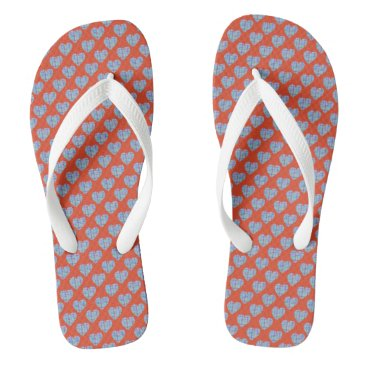 Beach Themed Blue hearts on warm red flip flops