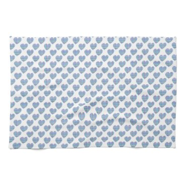 Beach Themed Blue hearts on white kitchen towel