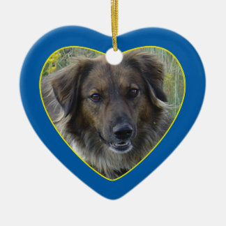 Blue Hearts Pet Memorial Photo Template Double-Sided Heart Ceramic Christmas Ornament