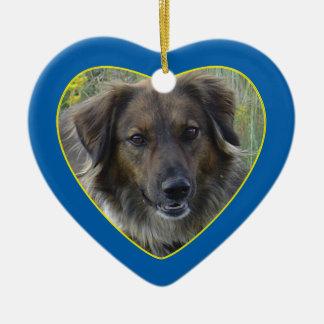 Blue Hearts Pet Memorial Photo Template Ornament