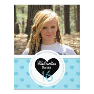 Blue Hearts: Picture:Sweet 16 Party Invitation