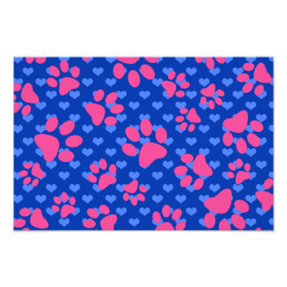 Blue hearts pink dog paws photo print