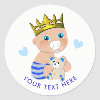 Blue Hearts Prince Baby Boy Shower Personalized Classic Round Sticker