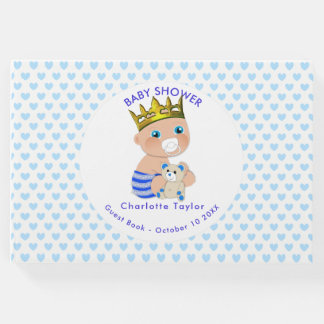 Blue Hearts Prince Baby Boy Shower Personalized Guest Book