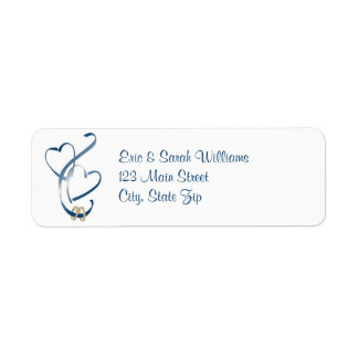 Blue Hearts Return Address Labels