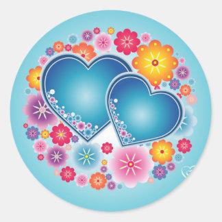 Blue hearts round sticker