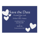 Blue Hearts Save the Date Postcard
