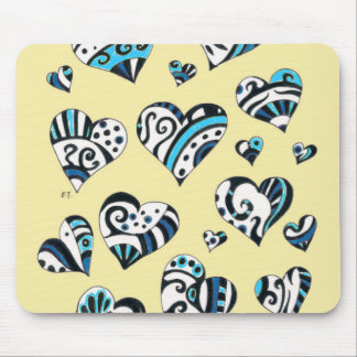 Blue Hearts Scribble Inky Funky Yellow Mouse Pad