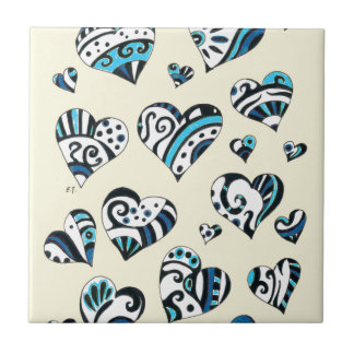 Blue Hearts Scribble Inky Funky Yellow Tile