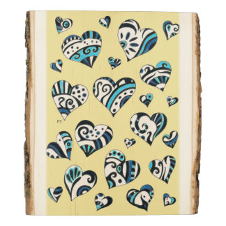Blue Hearts Scribble  Yellow Wood Panel