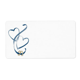 Blue Hearts Shipping Labels