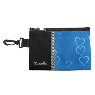 blue hearts silver chain accessory bag