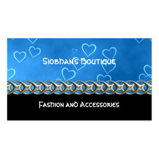 Blue hearts silver chain business cards