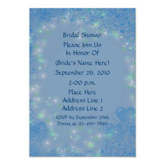 Blue Hearts Sparkly Lights Bridal Shower Invite