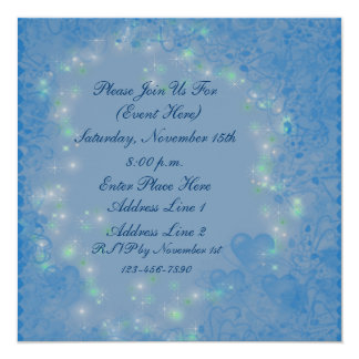 Blue Hearts Sparkly Lights Square Invitation