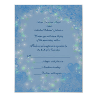 Blue Hearts Sparkly Lights Wedding Response RSVP Card