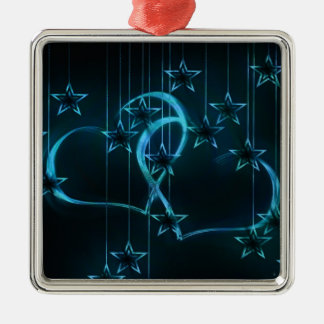 Blue Hearts & Stars Square Metal Christmas Ornament