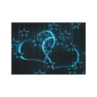 Blue Hearts & Stars Stretched Canvas Print