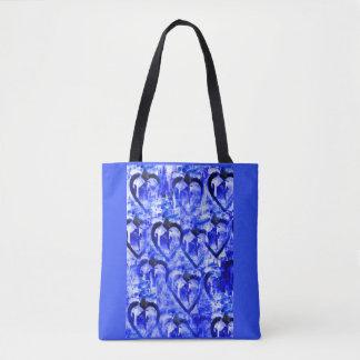 Blue hearts tote bag