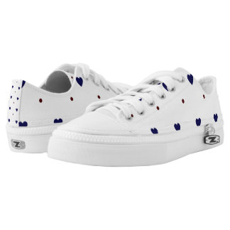 Blue Hearts with Red Polka Dots Lo Tops