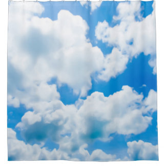 Blue Heaven Clouds II + your text & ideas Shower Curtain
