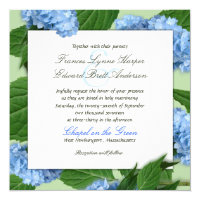Blue Heaven Square Hydrangea Wedding Invitations