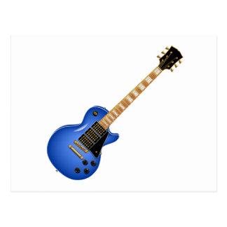 Blue Heavy Metal Electric Guitar Postcard