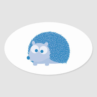 Blue Hedgehog Oval Sticker