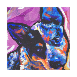 Blue Heeler Cattle dog Pop Art on Stretched Canvas