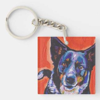Blue Heeler Dog  Pop Art Keychain