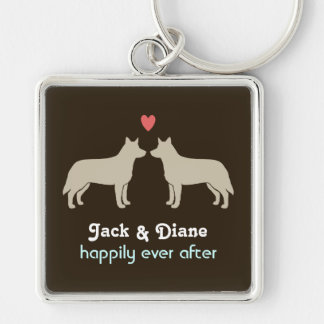 Blue Heeler Silhouettes with Heart and Text Keychain