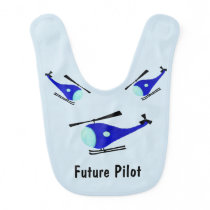 Blue helicopter baby bib