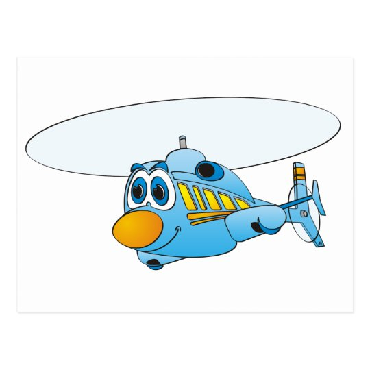 Blue Helicopter Cartoon Postcard