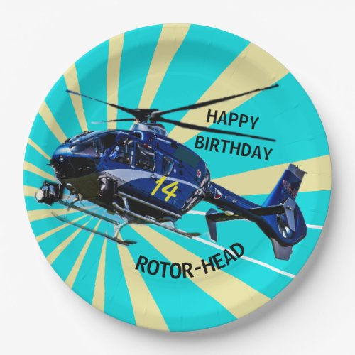 Blue Helicopter Paper Plate