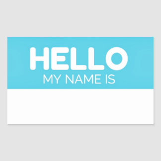 Blue Hello My Name Is Label Stickers