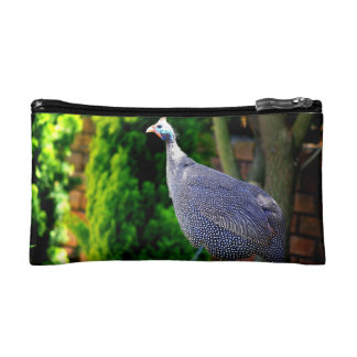 Blue Helmeted Guinea Fowl standing in the sun Cosmetic Bag